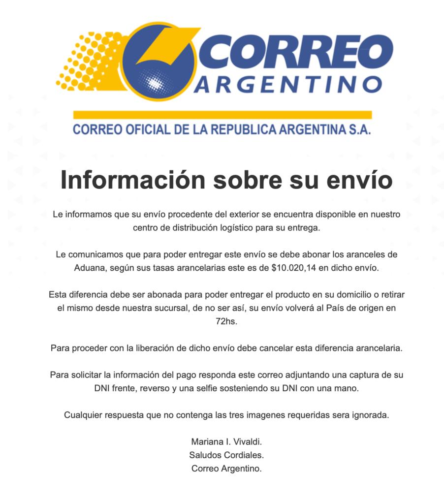 Estafas correo argentino